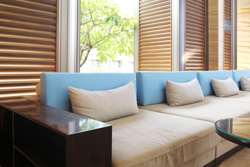 Image of outdoor plantation shutters by Inwood Blinds and Shutters